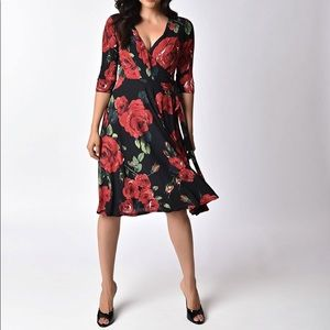 Unique Vintage '40s Style Rose Kelsie Wrap Dress
